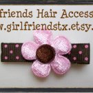 Pink & Brown Daisy Flower Clip-No Slip Grip
