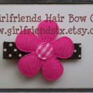 Hot Pink and Brown Daisy Flower Clip-No Slip Grip