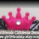 Hot Pink Zebra Print Princess Crown Hair Clip - No Slip Grip for Fine Hair from Baby to Teen