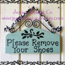 Please Remove Your Shoes Sign - For your Home or Business in Sage Green Damask