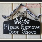 Please Remove Your Shoes Sign - Home or Business in Black and White Damask