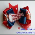 Royal Blue & Red Polka Dotted Cheer Hair Big Bow - 4.5 Inch - School Spirit