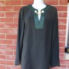 NWT WORTH BLACK&GREEN SILK BLOUSE M