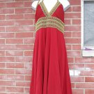 NWT PHOEBE FAB RUST/RED&GOLD HALTER DRESS 14 $330