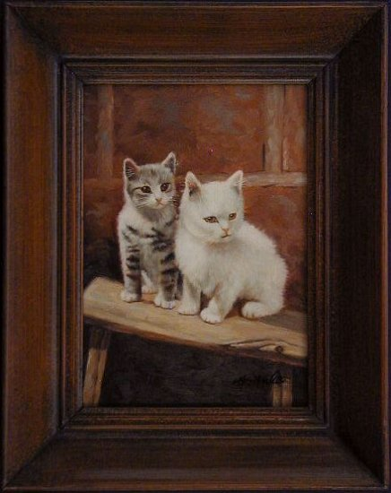 CATS and KITTENS Framed Oil Painting
