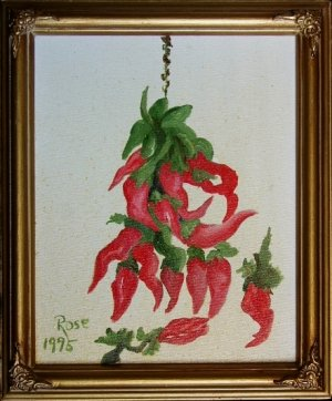 SOUTHWESTERN Red Chile GOLD FRAME Original Oil Painting