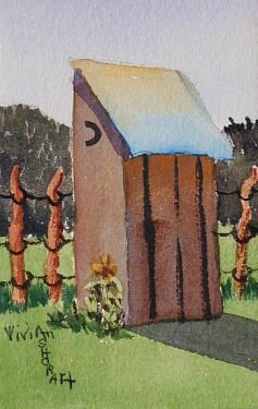 New Mexico PRIVY OUTHOUSE Vivian Ashcraft Original Watercolor