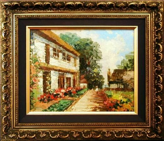 GARDEN WALKWAY Impressionistic Oil Painting ORNATE Frame