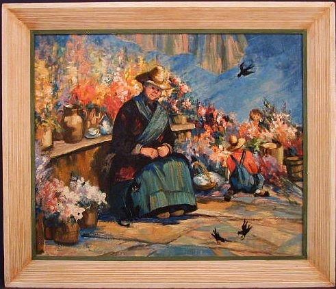 FLOWER GARDEN Fantasy Storybook Art - Original Oil Painting