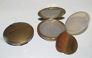2 pcs Bare Escentuals Gold Refillable Mirrored Mineral Makeup Compact w/Brush