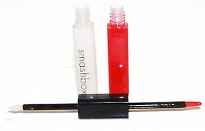 Smashbox Double Ended Lip Gloss STAR/SIREN Sheer Red & Clear Shimmer No Box New!