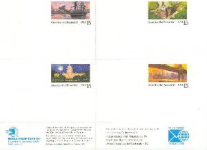 World Stamp Expo 89 Experimental Sheet of Post Cards