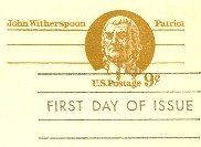 US Postal Card 9 cent John Witherspoon First Day Issue SC UX69