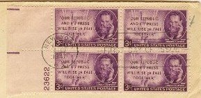 Joseph Pulitzer 3 cent Stamp Block of 4 Plate Number FDI SC 946 First Day of Issue