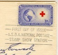 International Red Cross 3 cent Stamp ASDA National Cancellation FDI SC 1016 First Day of Issue
