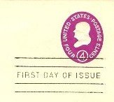 red violet Benjamin Franklin 4 cent Envelope FDI SC U536 First Day Issue
