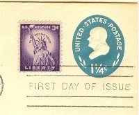 Benjamin Franklin 1 ¼ cent Stamped Envelope FDI SC U541 First Day Issue