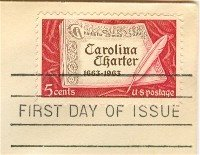 Carolina Charter 5 cent Stamp FDI SC 1230 First Day Issue