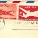 DC 4 Skymaster Air Mail 5 cent Stamp Envelope FDI SC C32 First Day of Issue