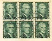 Thomas Jefferson 1 cent Stamp Block of 6 FDI SC1278 First Day Issue