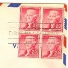 Thomas Jefferson 2 cent stamp Block of 4 FDI SC 1033 First Day Issue
