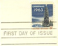 1963 Lit Christmas Tree 5 cent Stamp FDI SC 1240 First Day Issue