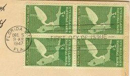 Everglades National Park 3 cent Stamp Block of 4 FDI SC 952 First Day of Issue