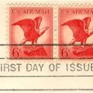 Bald Eagle Air Mail 6 cent Stamp Horizontal Pair FDI SC C67 First Day Issue