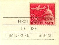 Jetliner Over Capitol 8 cent Stamp Luminescent Tagging FDI SC C64 First Day Use