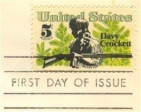 Davy Crockett 5 cent Stamp American Folklore Issue FDI SC 1330 First Day Issue