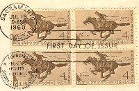 Pony Express 4 cent Stamp Block of 4 FDI SC 1154 First Day Issue