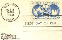 Wheels of Freedom 4 cent Stamp FDI SC 1162 First Day Issue