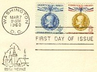 Gold Thomas G Maseryk 4 cent Blue 8 cent Stamp Champion of Liberty Issue FDI First Day Issue