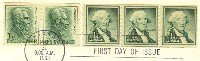Andrew Jackson 1 cent Coil Stamp George Washington 1 cent Coil FDI SC 1225 First Day Issue