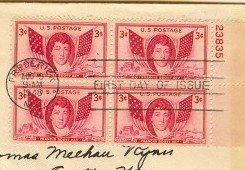 Francis Scott Key 3 cent Stamp Block of 4 and Plate Number FDI SC 962 First Day of Issue