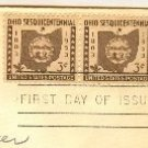 Ohio Sesquicentennial 3 cent Stamp Horizontal Pair FDI SC 1018 First Day Issue