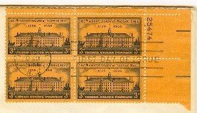 200th Anniversary Nassau Hall Princeton 3 cent Stamp Block 4 Plate Numb FDI SC 1083 First Day