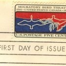 Migratory Bird Treaty US and Canada 50 Years 5 cent Stamp FDI SC 1306 First Day Issue