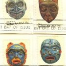 American Folk Art Issue Pacific Northwest Indian Masks complete set 4 FDI First Day Issue
