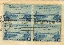 Century of Friendship 3 cent Stamp Block of 4 Canada United States FDI SC 961 First Day Issue