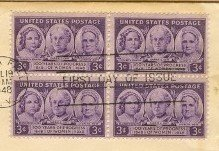 100 Years of Progress of Women 3 cent Stamp Block of 4 FDI SC 959 First Day Issue