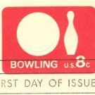 Rose Red Bowling 8 cent Envelope FDI SC U563 First Day Issue