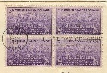Fort Kearney Nebraska 3 cent Stamp Block of 4 FDI SC 970 First Day Issue