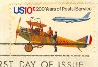 Early Mail Plane and Jet 10 cent Stamp Postal Bicentennial Issue FDI SC 1574 First Day Issue