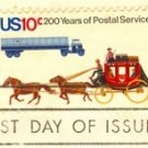 Stagecoach and Trailer Truck 10 cent Stamp Postal Bicentennial Issue FDI SC 1572 First Day Issue