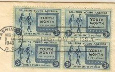 Salute to Youth 3 cent Stamp Block of 4 FDI SC 963 First Day Issue
