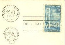 Mackinac Bridge 3 cent Stamp FDI SC 1109 First Day Issue