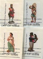 American Folk Art Issue Wood Carved Figures Stamp Set of 4 FDI  First Day Issue