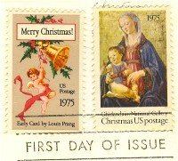 1975 Christmas Issue 2 stamps FDI First Day Issue