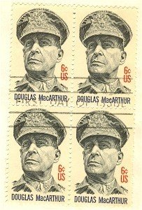Douglas MacArthur 6 cent Stamp Block of 4 FDI SC 1424 First Day Issue
